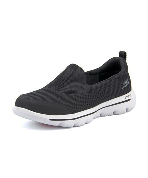 SKECHERS(スケッチャーズ) GO WALK EVOLUTION ULTRA - REACH [GF]【超軽量】(ゴーウォークエボリューションウルトラリーチ) 15730 BKW ブラック/ホワイト スニーカー レディース 靴 ウォーキング シューズ スリッポン スポーツ 紐なし ローカットスニーカー カジュアル くつ
