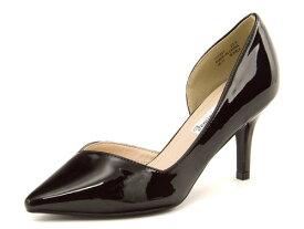 Feminine Cafe(フェミニンカフェ) レディース サイドオープンパンプス 117921 ブラック/ブラック   靴 シューズ くつ パンプス カジュアル カジュアルパンプス レディースシューズ カジュアルシューズ 黒パンプス レディースパンプス 女性 黒 レディース靴 サイドオープン