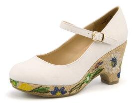 Feminine Cafe(フェミニンカフェ) レディース 刺繍ストラップパンプス 1947 ホワイト   靴 シューズ くつ パンプス カジュアル カジュアルパンプス レディースシューズ ストラップ カジュアルシューズ ストラップ付き レディースパンプス 女性 レディース靴 白 カジュアル靴