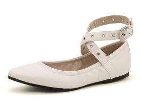 DAPHNE(ダフネ) レディース クロスベルトフラットパンプス 370031 ホワイト | 靴 シューズ くつ パンプス カジュアル カジュアルパンプス フラットパンプス フラット レディースシューズ カジュアルシューズ ベルト フラットシューズ ぺたんこ ペタンコ ローヒール 白