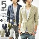 【コットンリネン 七分袖 テーラードジャケット 全5色】 メンズ テーラード 綿麻 7分袖 ライトアウター スリム ショー…