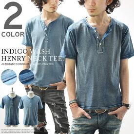 Tシャツ メンズ カットソー 半袖 tシャツ インディゴ ヘンリーネック デニム ブルー スリム ショート丈 カジュアル
