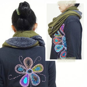 【Amina】スノースヌード/メンズエスニックスヌードマフラーストールナチュラルコンチョネイティブ無地ボリュームロングエスニックファッション2色カーキブラック
