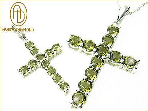 天然宝石モルダバイトのクロスネックレス/隕石の衝突でできた宝石/芦屋ダイヤモンド/ジュエリーネックレスsilver925/P19Jul15