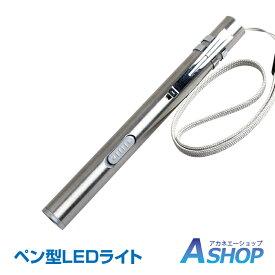【送料無料】 ペン型 LED ライト コンパクト ステンレス 明るい USB 充電 懐中電灯 作業灯 警告灯 クリップ ストラップ ad231