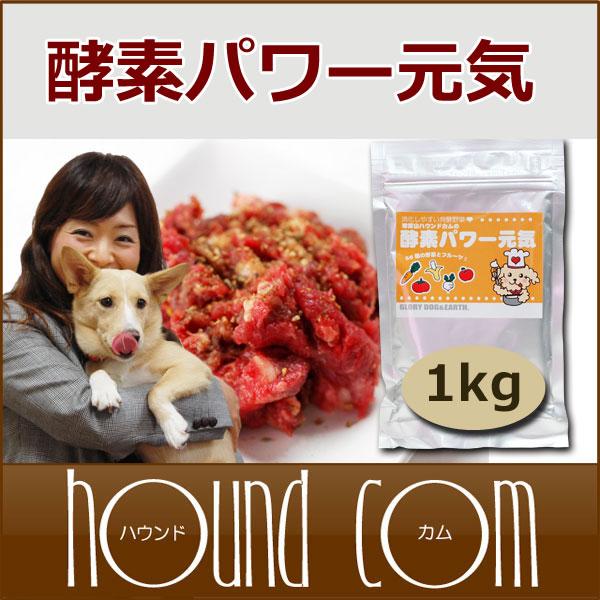 犬 酵素パワー元気 1kg ドッグフード 馬肉 生肉に混ぜて ペットの手作り食に 低リン 子犬 野菜 粉末 大型犬向きお得用【あす楽】トッピング、ふりかけ【a0036】 高齢犬 シニア