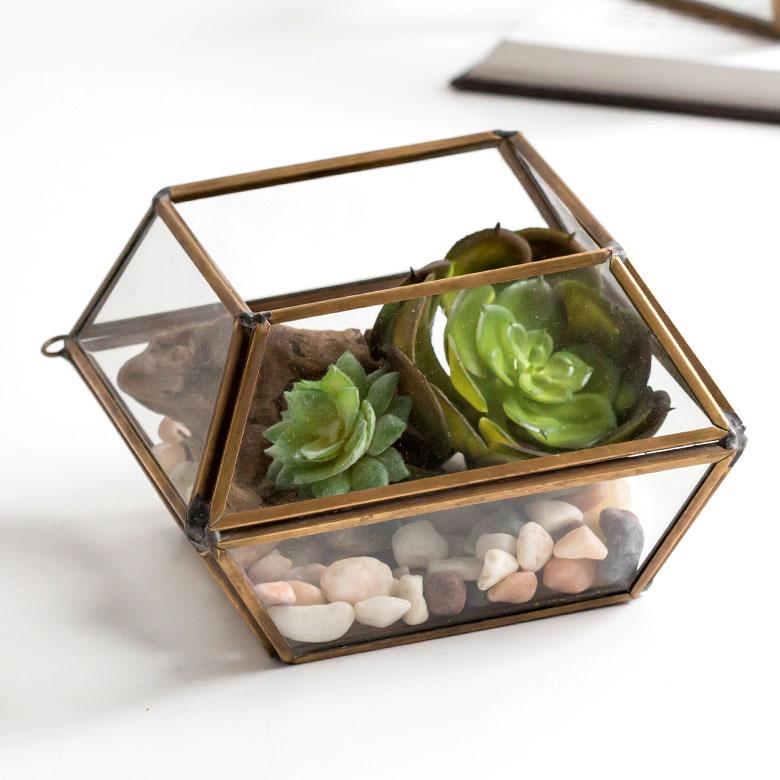 ガラスと真鍮でできた10面体のテラリウム(63110)【テラリウム ガラスボックス ガラスケース 容器 多面体 10面体 ディスプレイケース 小物入れ 小物収納】