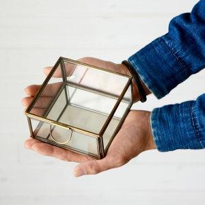 ガラスと真鍮でできた鏡付き収納ケース(Sサイズ)(63120)