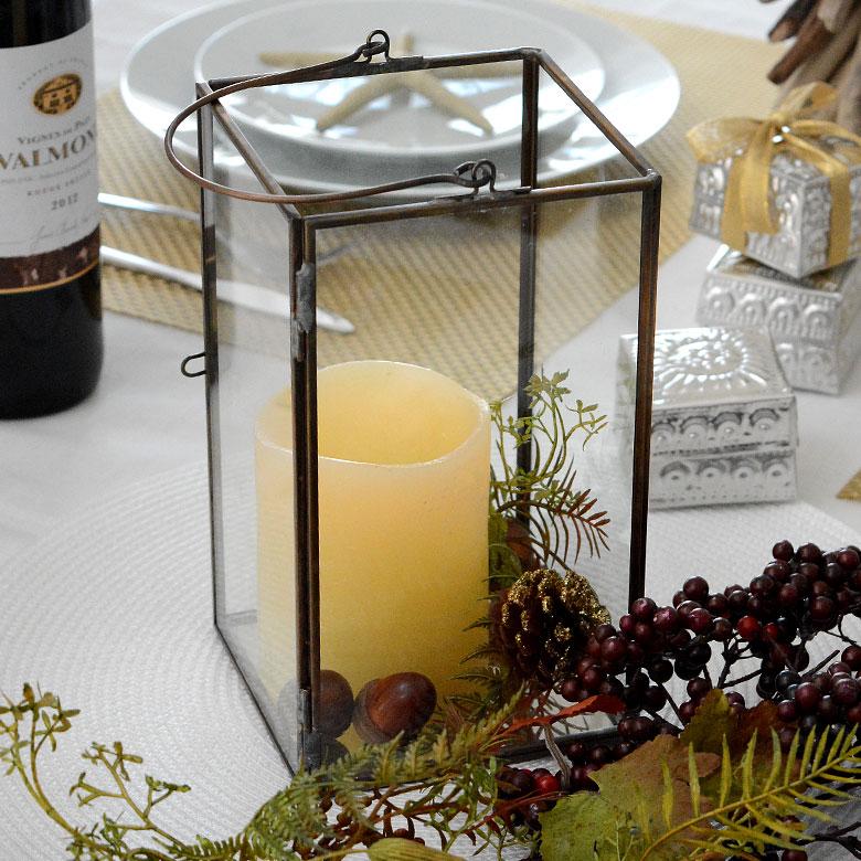 ガラスと真鍮でできた大きなキャンドルランタン(63150) 【ガラスボックス ガラスケース キャンドルランタン ディスプレイケース 小物入れ】