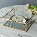 ガラスと真鍮でできた鏡付き収納ケース(Lサイズ)(63170) 【ガラスボックス ガラスケース 容器 四角 ディスプレイケー…