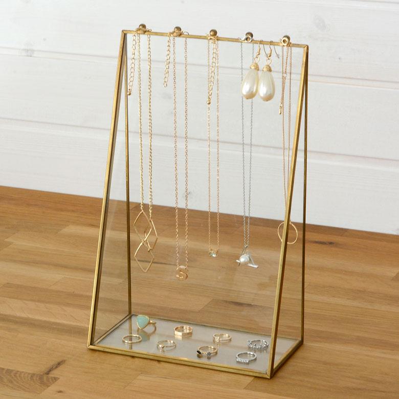 ガラスと真鍮でできたアクセサリースタンドケース(63200) 【ガラス アクセサリースタンド ディスプレイ 小物入れ 小物収納 アジアン雑貨】