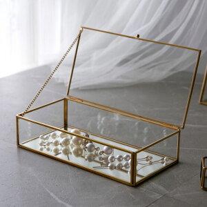 ガラスと真鍮でできたジュエリーボックス(63280) 【ガラスボックス おしゃれ ガラスケース アクセサリーケース ジュエリーボックス アクセサリー入れ 四角 コレクション ゴールド ディスプ