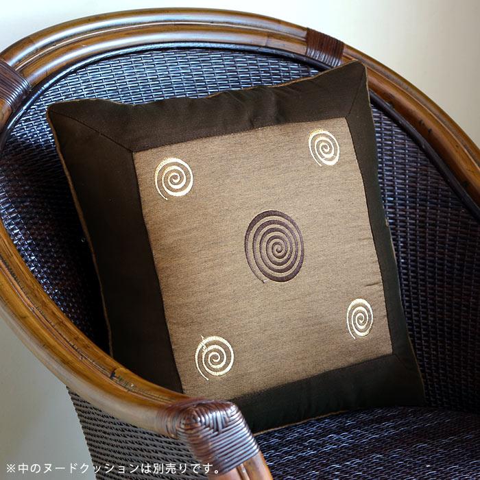 【メール便対応】レトロな渦巻きの刺繍が可愛い アジアン クッションカバー40×40cm[ブラウン][10277b]【正方形 角型 四角形 ベッドクッションカバー バリ アジアン雑貨 スクエア クッション おしゃれ 】