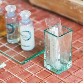 手作りガラスで出来た長方形の アジアン 綿棒スタンド[66320]【バリ 雑貨 アジア雑貨 アジアン雑貨 新生活】【バリ島のガラスケース コットンケース】