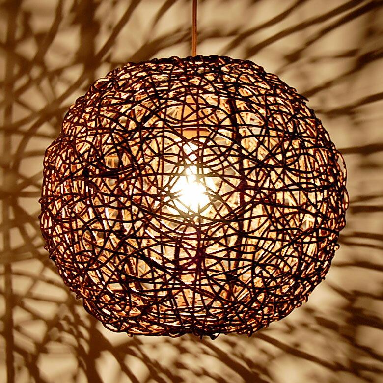 【LED電球対応】アジアン照明 ラタンのペンダントライト[ビッグボール][4332]【6畳 おしゃれ アジアンランプ シーリング ペンダントライト モダン ライト リビング 天井照明 間接照明 アジアン ペンダントランプ】