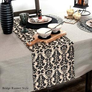 ウォーターヒヤシンスで出来た可愛い模様のテーブルランナー[ブラック×ナチュラル][10824]【テーブルセンターテーブルデコレーションテーブル布タペストリークロスファブリックバリアジアン雑貨おしゃれモダン】