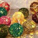 【セット】電池式 LED ストリングライト 3m 30球 & ラタンボール Sサイズ 30球セット...