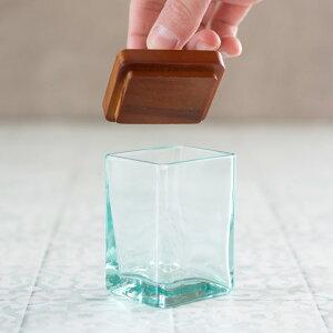 【2色展開】ガラスケースフタセットウッドガラス取っ手付きset-6630【ガラスガラスケースフタウッドセット6×5cm雑貨コットンケースアメニティバスルーム洗面所化粧品収納木製】