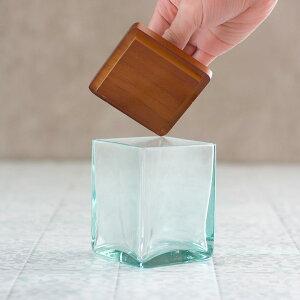【2色展開】ガラスケースフタセットウッドガラス取っ手付きset-6640【ガラスガラスケースフタウッドセット雑貨コットンケースアメニティバスルーム洗面所化粧品収納木製】