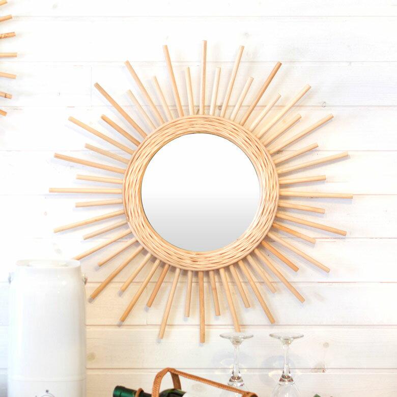 ミラー 鏡 丸型 壁掛け ラタン アジアン 飛散防止ミラー [91304]【 壁掛けミラー 星型 太陽 ウォールミラー アジアン雑貨 西海岸 バリ おしゃれ 】