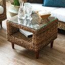 サイドテーブル アバカ素材 強化ガラス天板 幅50cm 正方形 [96012]【 アジアンテイスト ローテーブル ソファテーブル …