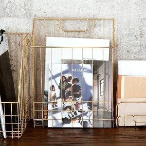 ワイヤーバスケット A4 ファイルボックス ゴールド 深型スリム 幅26cm [66590]【 かご バスケット 収納 マガジンラック マガジンスタンド 収納ボックス 本立て おしゃれ 可愛い ブックスタンド