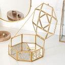 ガラスと真鍮でできた 収納ケース 鏡付き 八角 [66712]【 ディスプレイケース 小物入れ ガラスボックス おしゃれ 可愛…