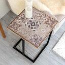サイドテーブル モザイクタイル柄天板 ブラックフレーム 幅40cm 高さ56cm [66727]【 テーブル ソファテーブル コーヒ…