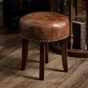スツール 円形 ラウンド 木製 猫脚 レザー座面 高さ40cm ブラウン 茶 [91335] 【 丸椅子 イス チェア リサイクルレザ…