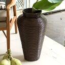 【送料無料】ぐるぐるラタンの大きな壷型アジアンバスケット[コイルベース][6301]【造花 アートプランツ 花瓶 フェイ…