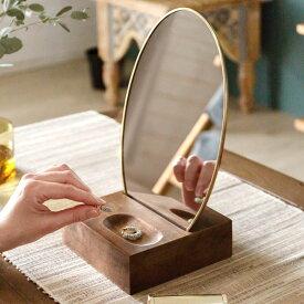 卓上ミラー オーバル型 真鍮フレーム 天然木台 角度調整対応 [66900]【 スタンドミラー 鏡 かがみ カガミ ミラー 卓上鏡 テーブルミラー アンティーク調 コンパクト 楕円型 化粧鏡 おしゃれ 可愛い メイクアップミラー シンプル インテリア アジアン 雑貨 アジアン雑貨 】