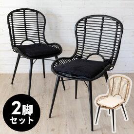 【2脚セット】チェア BIANCA ラタンチェアー メッシュデザインBタイプ ラタン製 スチール脚 取り外しクッション座面 座面高39cm 2色展開 [set-13860-mt-blk set-13860-mt-lgv]【 椅子 ダイニングチェア ラタン家具 籐 籐椅子 一人掛け アジアン アジアン家具 おしゃれ 】