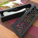蓮の彫刻が彫られた四角い収納ケース[11404]【ハス ロータス アジアン収納ボックス おしゃれ 収納BO× カトラリーケー…