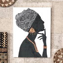 アートパネル 女性 横向き キャンパス 幅37.5cm 高さ50cm アフリカン [66963]【 アート キャンパスアート ファブリッ…