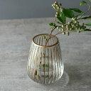 フラワーベース クリア ガラス 花瓶 Sサイズ 約 W 13cm D 13cm H 16cm マット アンティーク ゴールド [66983]【 エレ…