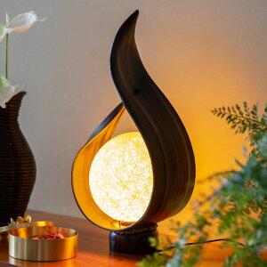 テーブル ランプ パームリーフ ボールランプ オブジェ 口金E12 LED対応 電球付き 40wまで [13990]【 間接照明 アジアンライト テーブルライト ナイトランプ 卓上ライト おしゃれ リビング 寝室 玄