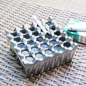 波型デザインのスクエア型アルミ製灰皿[Lサイズ][10331]【灰皿 おしゃれ 灰皿 フタ付 おしゃれ 卓上灰皿 灰ざら はいざら 灰皿 来客用 アンティーク風 アンティーク調インテリア かっこいい