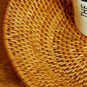 アタで編まれた楕円形のトレイ型バスケット[10681]