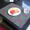 ウォーターヒヤシンスのアジアンランチョンマット[ターコイズ×ピンク][10810]【キッチンマット ティーマット テーブ…