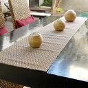 ウォーターヒヤシンスで編まれたモダンフラワーのテーブルランナー[10838A]【テーブルセンター テーブルデコレーショ…