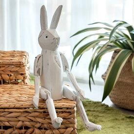 手足が動かせる木彫りのパペット人形[ウサギ][11136]【バリ島のうさぎ 兎 インテリア置物 アジアン置き物 木彫りの動物 木製オブジェ カラフル アニマルオブジェ 動物の人形 バリ 雑貨 アジアン雑貨 アジアン おしゃれ】