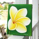 アジアンアート[プルメリア25×20cm右向き][9102A]【フランジパニ 花の絵 アート アートパネル ウォールデコレーショ…