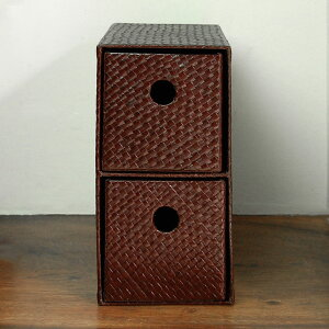 縦横自在パンダンで編まれた四角い収納ボックスケース(10653)