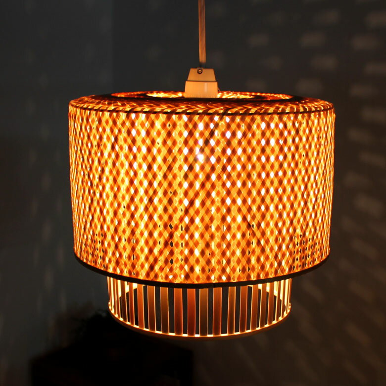 Overlapping Cross And Striped Bamboo Pendant Lamp Shade Twin Bamboo  [vn50625]