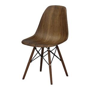 【2脚セット】チェアイームズ風ダイニングチェアウォールナット[set-91243-walset-91243-oak]【天然木シェルチェアリプロダクト木脚ダークブラウン食卓椅子北欧】