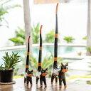 しっぽのながい木彫りバリネコ 大 中 小 3匹セット[9221]【木彫りの動物 バリ島のネコ ねこ 猫の置き物 インテリア置物 飾り ウッドオブジェ 彫刻 木製...