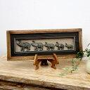 動物モチーフの壁掛けフレーム アートボックス (5頭のゾウ)[62330]【壁掛け アート 飾り ウォール インテリア ウォールデコレーション フレーム パネル オブジェ バリ アジアン雑貨 モダン