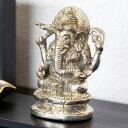 真鍮で出来たガネーシャの アジアン オブジェ(12970)【ガネーシャ 置物 オブジェ 象 夢をかなえるゾウ インドの神様 インテリア 飾り ペーパーウエイト ...