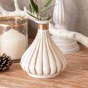 フラワーベース ガラス ミルクカラー ゴールド 花瓶 [94231]【 直径12cm 高さ14cm 模様入り 乳白色 おしゃれ アンティ…