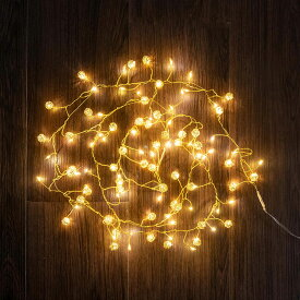 LED ストリングライト イルミネーション 150 cm ゴールド シルバー 約 100球 [90345]【 クリスマス デコレーション ライト 電飾 装飾 ボール付き 飾り 金 銀 おしゃれ かわいい インテリア 北欧 雑貨 照明 イベント Horn Please MADE】